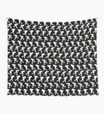 speed skaters pattern white on black Wall Tapestry