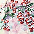Snowy Berries (watercolour on paper) by Lynne Henderson