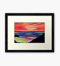 GIANT'S CAUSEWAY SILHOUETTE - Abstract Sky Oil Painting Framed Print