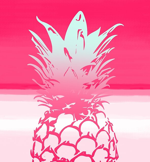 Pink Pineapple Tropical Beach Design by oursunnycdays