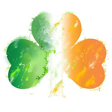 Green White Orange Distressed Watercolor Style Irish Flag Shamrock  by vivacandita