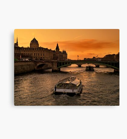 Sunset by the Seine. Canvas Print
