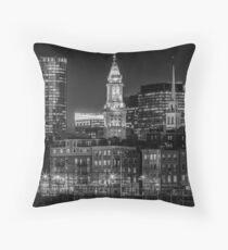BOSTON Abendliche Skyline von North End & Financial District | Monochrom Kissen
