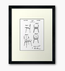 Mid Century Eames Patent Drawings for DCW Molded Plywood Chair  Framed Print