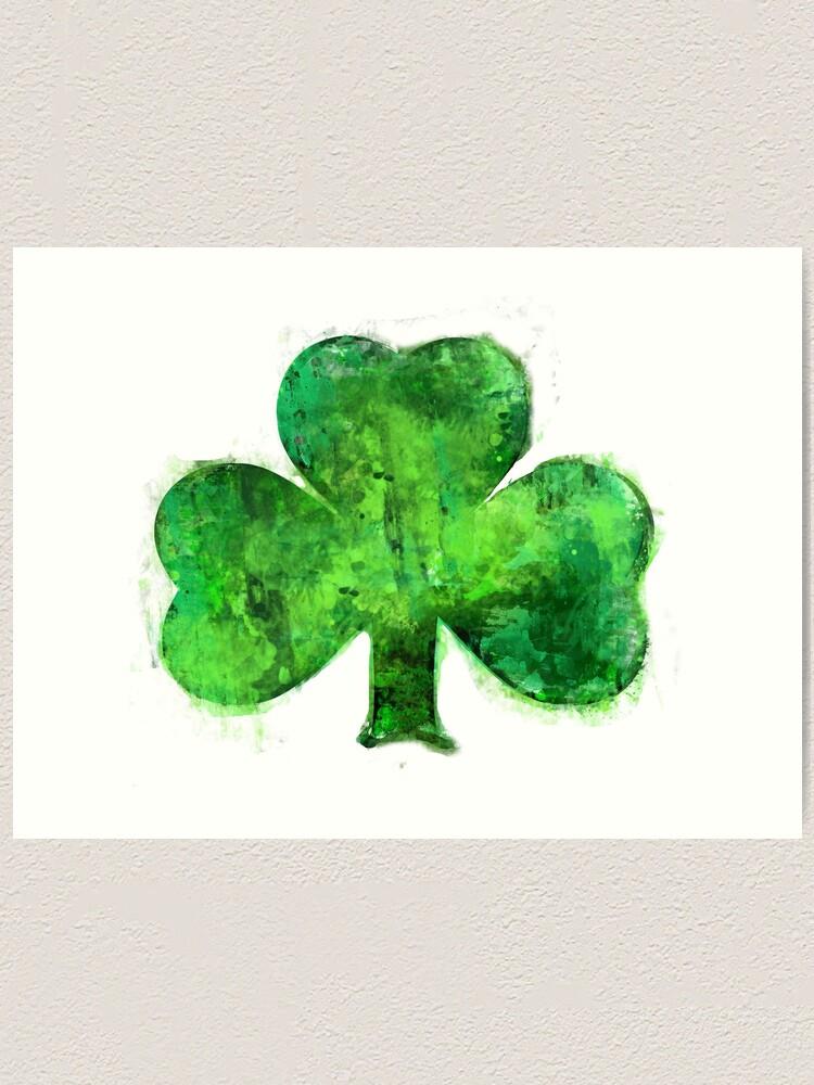 Green Shamrock Splatter Painting Watercolor Distressed Style Irish Design By Vivacandita Art Print By Vivacandita Redbubble