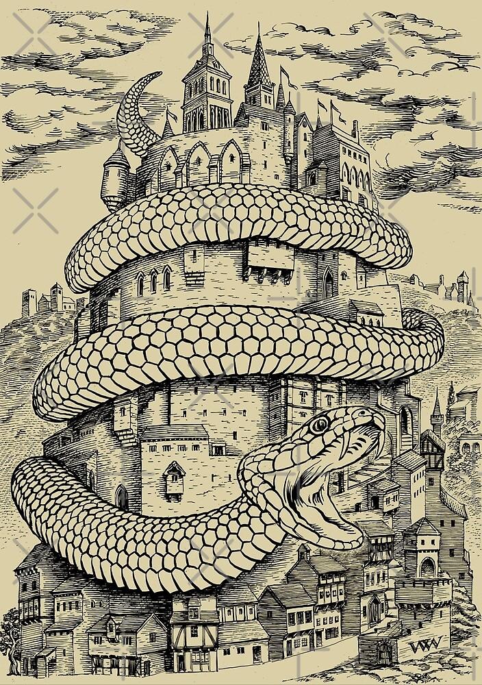 The Serpent's Stranglehold (monochrome version) by wonder-webb