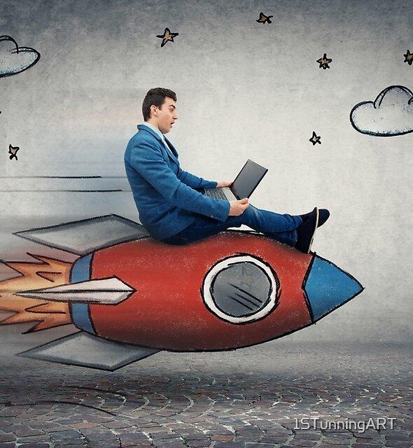 businessman's rocket speed by 1STunningART