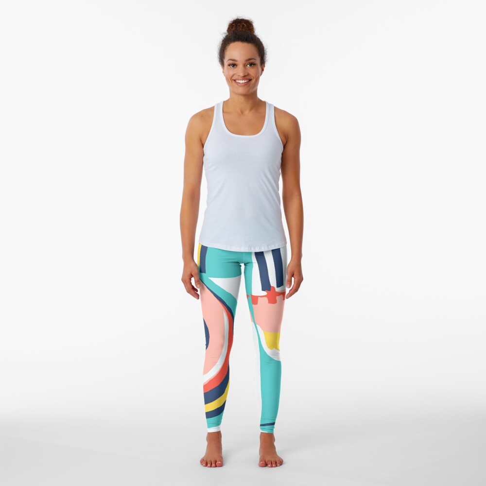 Modern Minimalist Blocking Colors Leggings