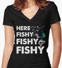 Fishing Dad Shirt, Boat, Fishing Shirt, Salmon, Boating, Bass Fishing, Funny Fishing Gifts, Fly Fishing Women's Fitted V-Neck T-Shirt