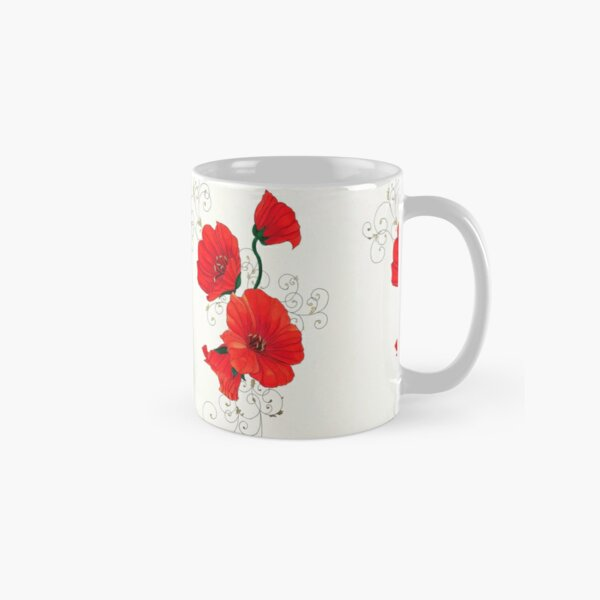 Red Wildflowers with Whirls Classic Mug