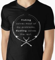 Hunting & Fishing, Fathers Day Fishing, Fishing flag, American Fishing, American Fisherman, Camper Men's V-Neck T-Shirt