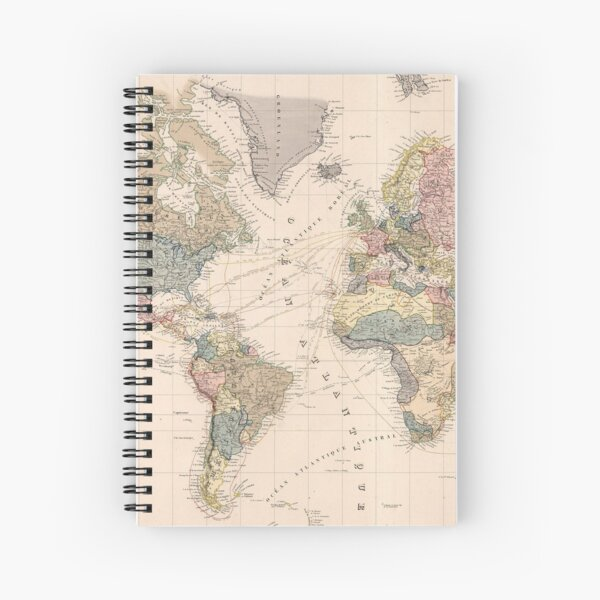 Vintage Map of The World (1852) Spiral Notebook