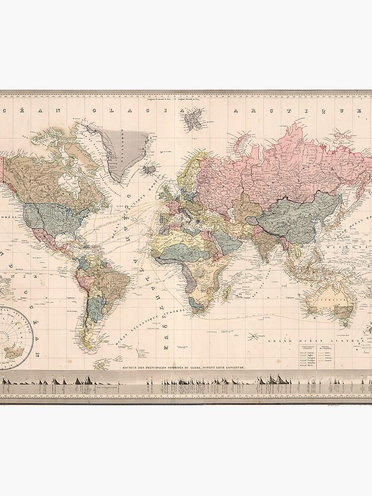 Vintage Map of The World (1852) by BravuraMedia