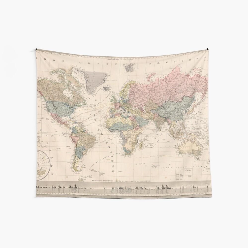 Vintage Karte der Welt (1852) Wandbehang