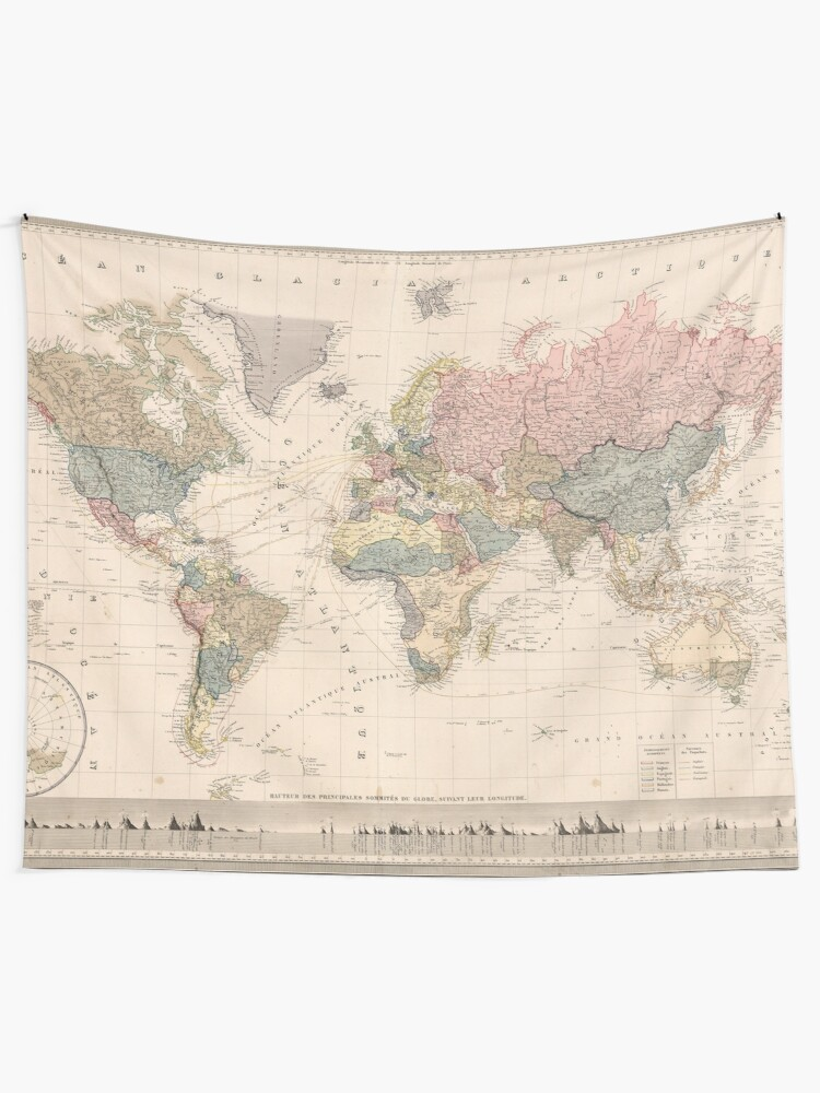 Alternate view of Vintage Map of The World (1852) Tapestry