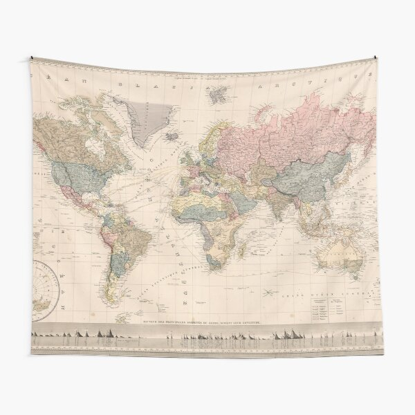 Vintage Map of The World (1852) Tapestry