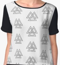 Trinity Triquetra Norse Mythology Symmetrical Odin Thor Frey black and white  Chiffon Top