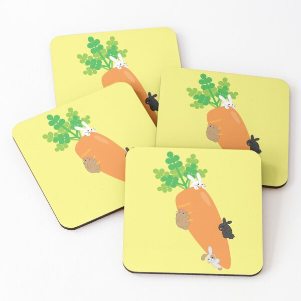 Giant Carrot and Bunnies Coasters (Set of 4)