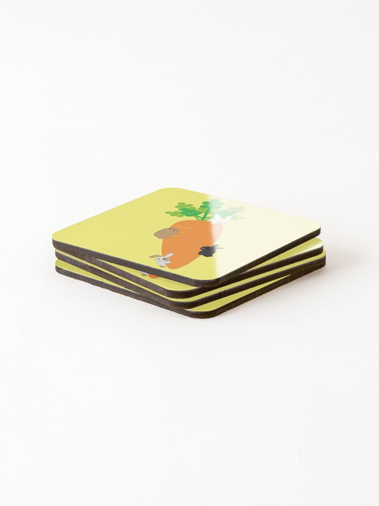 Alternate view of Giant Carrot and Bunnies Coasters (Set of 4)