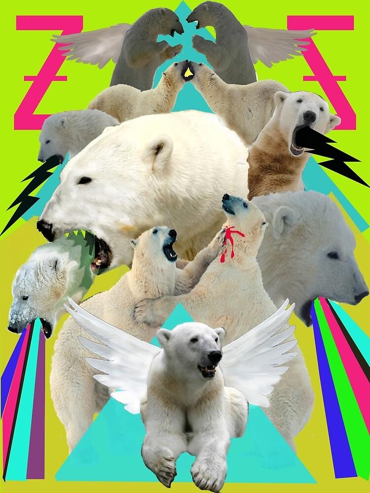 Flying Polar Bears Vomit Rainbows and Black Lightning by zandozan