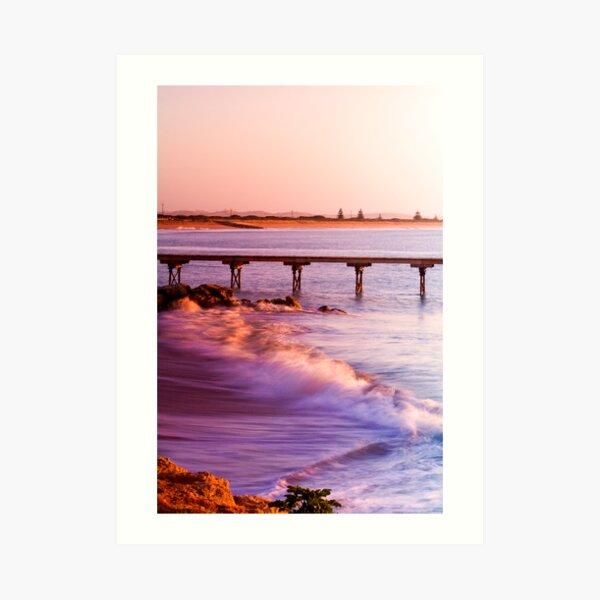 Crashing waves as the sun rises at Beachport Art Print