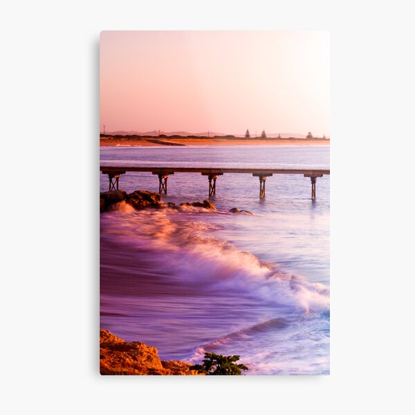 Crashing waves as the sun rises at Beachport Metal Print