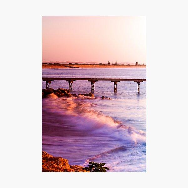 Crashing waves as the sun rises at Beachport Photographic Print