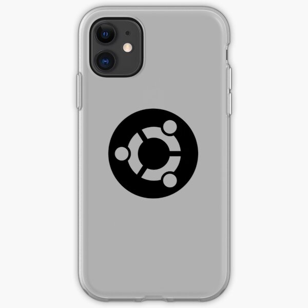 ubuntu logo in black iPhone Soft Case