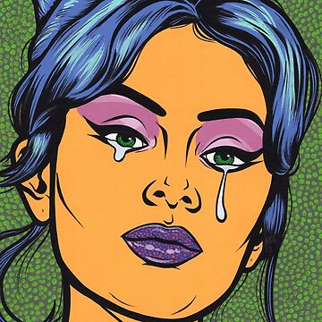 Blue Hair Crying Comic Girl by turddemon