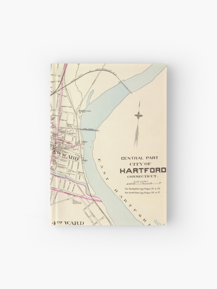 Vintage Map Of Hartford Connecticut 1893 Hardcover Journal By Bravuramedia Redbubble