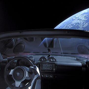 SpaceX Starman - DON'T PANIC! by bobbooo