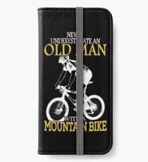 Never Underestimate An Old Man With A Mountain Bike T-Shirt iPhone Wallet/Case/Skin