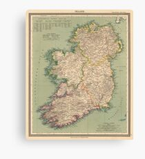 Vintage Map of Ireland (1888) Canvas Print