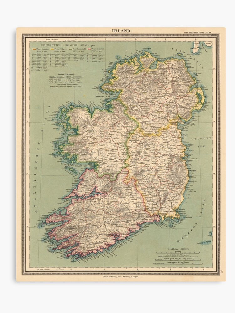 Print Map Of Ireland.Vintage Map Of Ireland 1888 Canvas Print