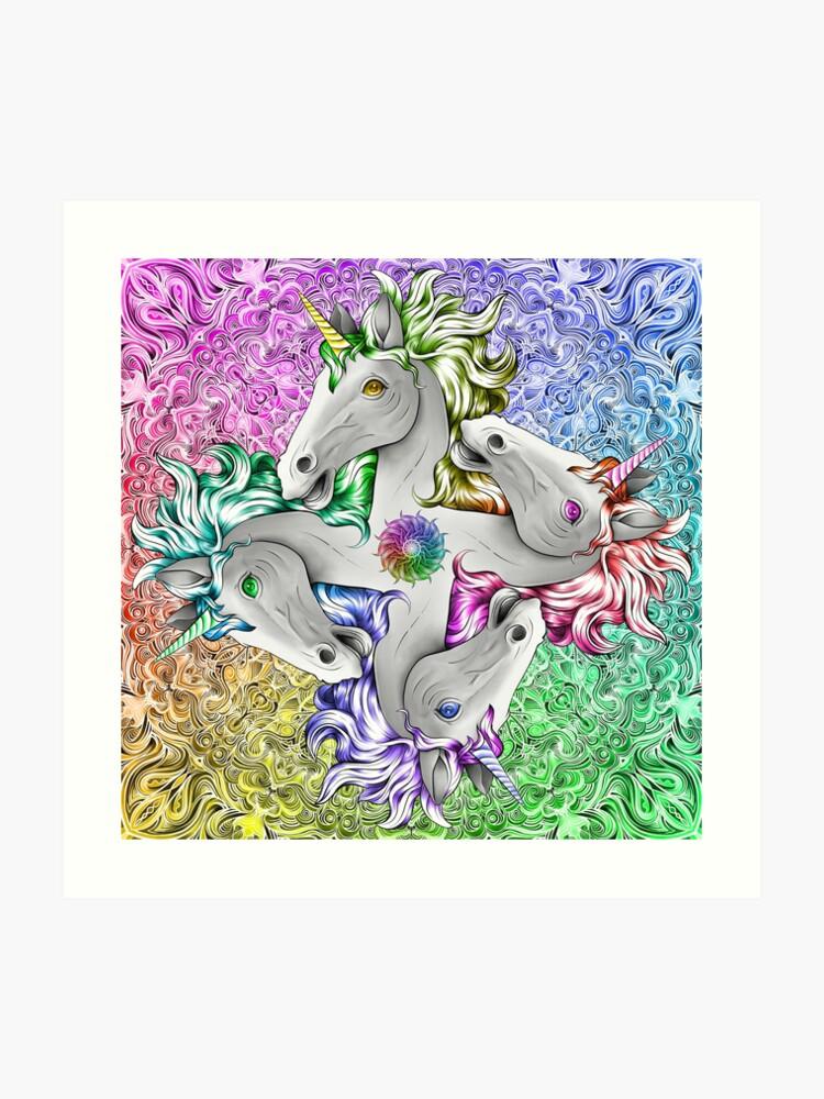 Rainbow Licorne Quadricorn Parfait Anniversaire Cadeau Yoga Party Girl Filles Gay Pride Impression Artistique
