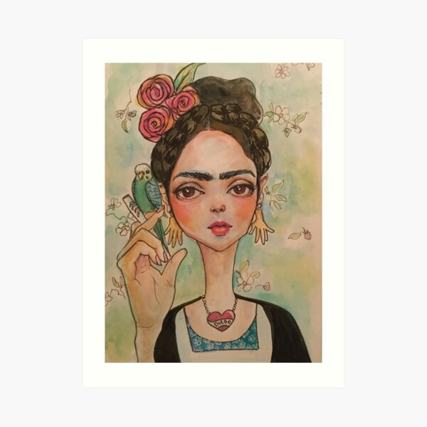 Frida and parakeet Art Print