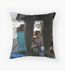 Woman At Market In Copley Square Throw Pillow