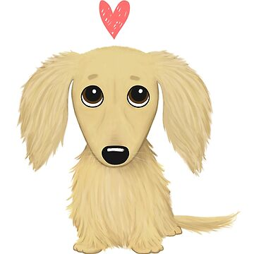 Long Haired Cream Dachshund with Heart by ShortCoffee