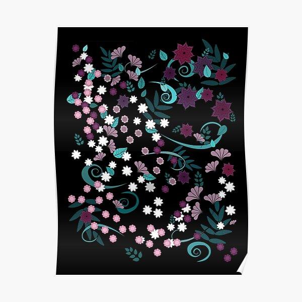 Twilight Garden Floral Pattern Poster