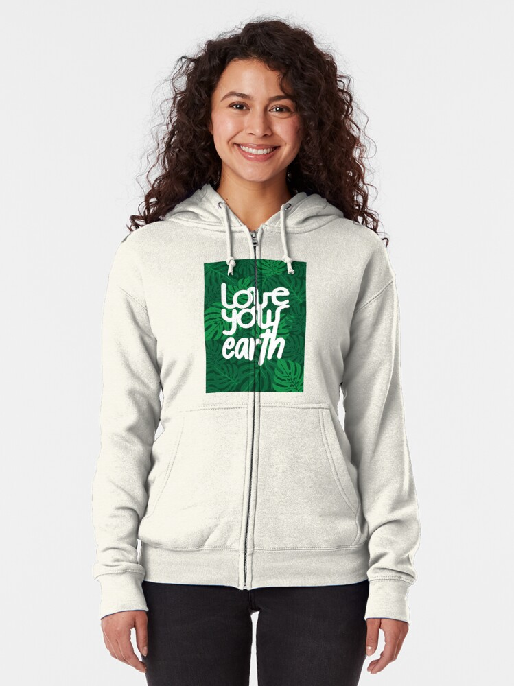 Alternate view of Love your Earth Zipped Hoodie