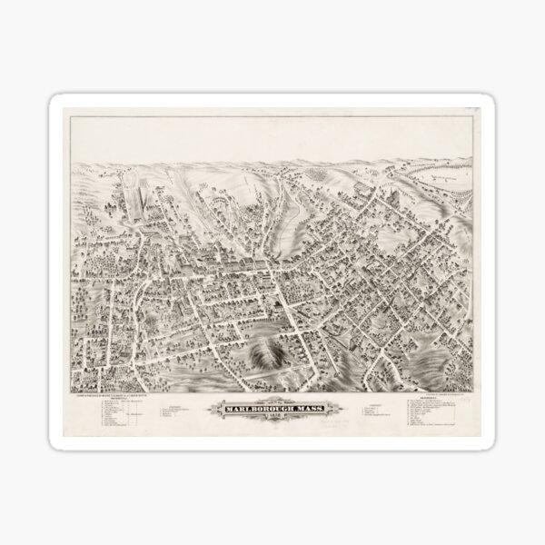 Vintage Pictorial Map of Marlborough MA (1878) Sticker
