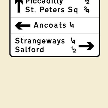 Manchester street sign, roads to Ancoats, Piccadilly, etc.  by unloveablesteve