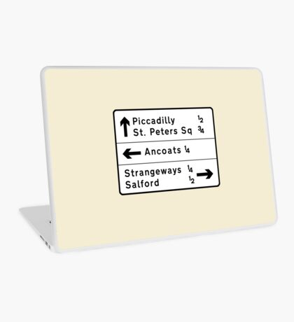 Manchester street sign, roads to Ancoats, Piccadilly, etc.  Laptop Skin