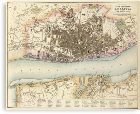 Vintage Map of Liverpool England (1872)\