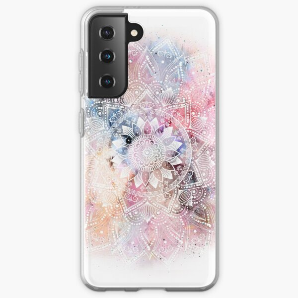 Whimsical white watercolor mandala design Samsung Galaxy Soft Case