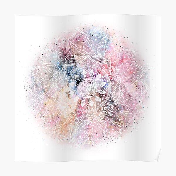 Whimsical white watercolor mandala design Poster