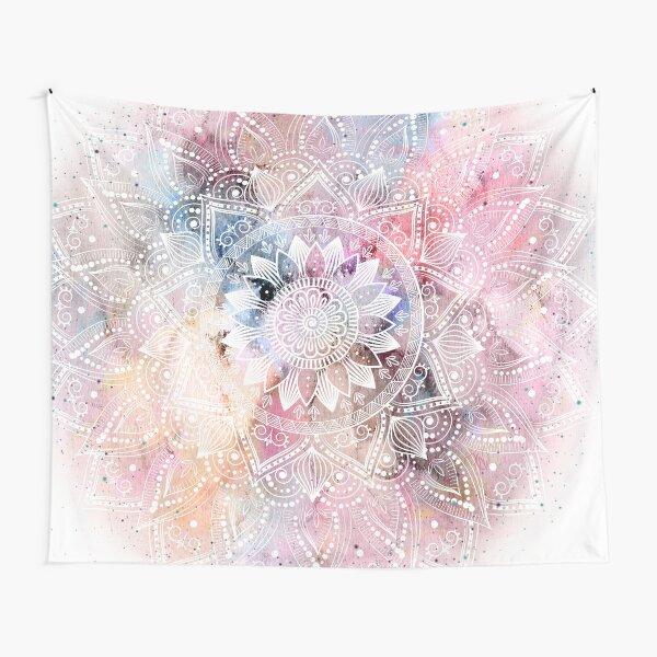Whimsical white watercolor mandala design Tapestry