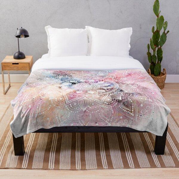 Whimsical white watercolor mandala design Throw Blanket