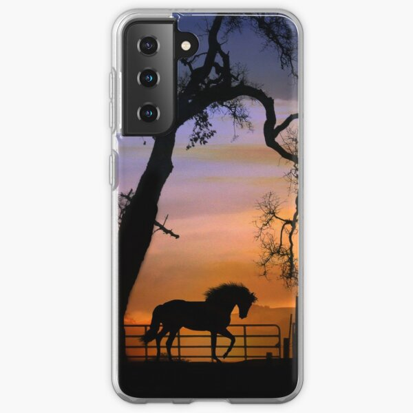 Beautiful Horse and Fence with Oak Tree Sunrise Silhouette Samsung Galaxy Soft Case