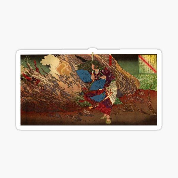 Ukiyo-e print of Samurai on a battlefield Sticker